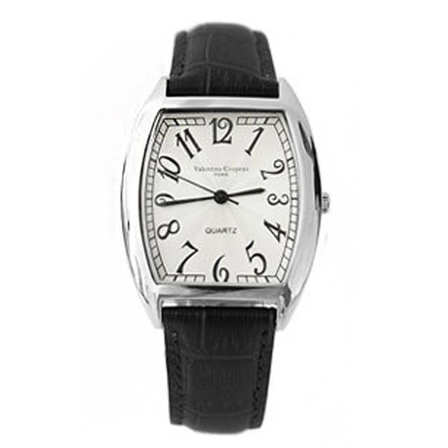 【范倫鐵諾˙古柏】經典酒桶造型數字皮革腕錶 原廠公司貨