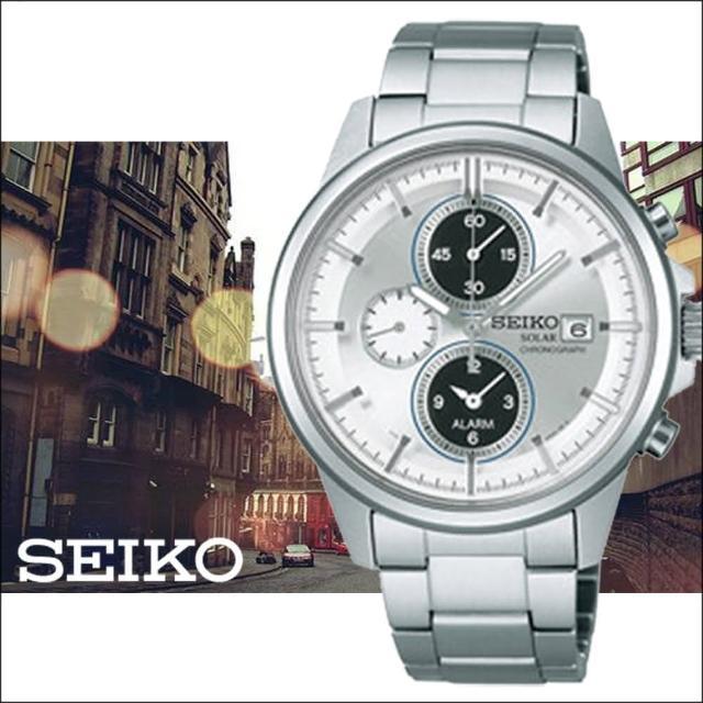 【SEIKO 精工】SPIRIT 銀白太陽能時尚三眼計時鬧鈴腕錶(41mm/V172-0AA0A)