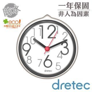 【日本DRETEC】SPA大字幕浴室防水時鐘-白色