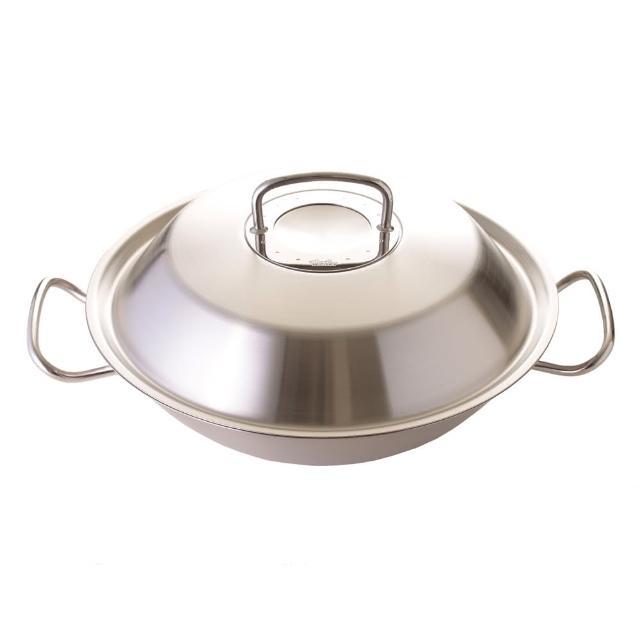 【德國 Fissler】Original profi 中式炒鍋附瀝油架 中華炒鍋 35cm 不鏽鋼鍋蓋