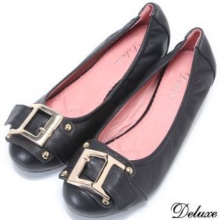 【Deluxe】全真皮造型大扣環舒適小增高包鞋(黑)
