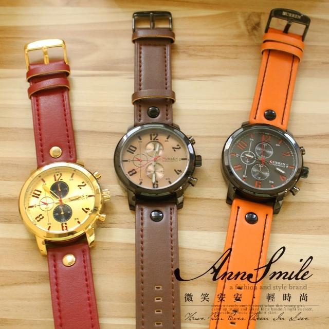 【微笑安安】CURREN*鏤空數字亮框仿三眼圓盤男款皮錶帶手錶(4色)