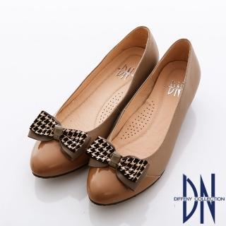 【DN】典雅職場 異材質立體蝴蝶結飾低跟鞋(咖)