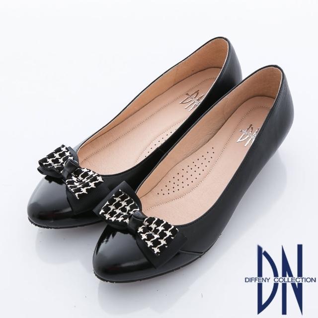 【DN】典雅職場 異材質立體蝴蝶結飾低跟鞋(黑)