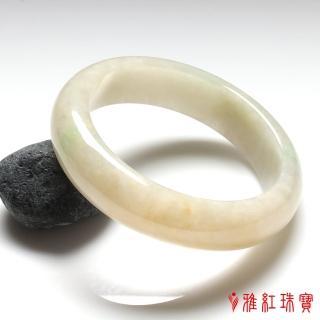【雅紅珠寶】天然春帶彩翡翠手鐲-#18-似水柔情