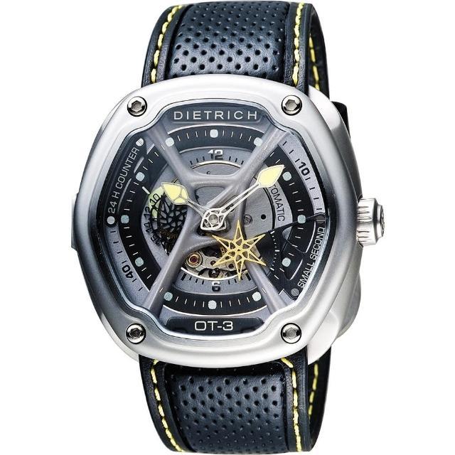 【DIETRICH】OT系列 生化機械鏤空腕錶-黑x黃指針/46mm(OT-3)