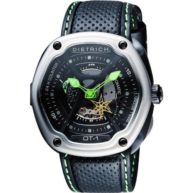 【DIETRICH】生化機械鏤空腕錶-黑x綠指針/46mm(OT-1)