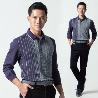 【Christian】極保暖直條紋POLO衫 紫(PW452-68)