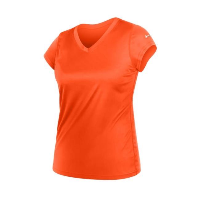 【HODARLA】女無感V領短T恤-慢跑 路跑 休閒(陽光橘)
