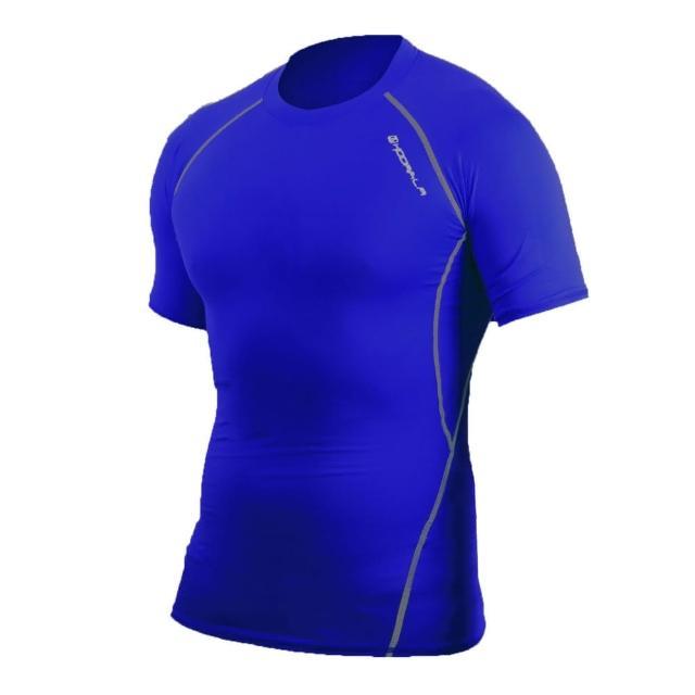 【HODARLA】肌動男短袖運動緊身衣-台灣製 T恤 圓領 短T 籃球 慢跑 健身(藍灰)