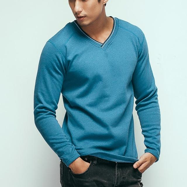 【HENIS】時尚型男色織V領保暖衫(-2件組隨機取色)