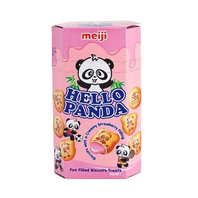 【明治】HELLO PANDA 貓熊夾心餅乾-草莓口味50g(夾心餅乾)