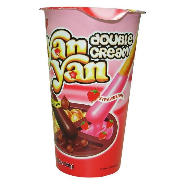 【明治】雙醬洋洋棒餅乾-巧克力與草莓口味 44g(明治)