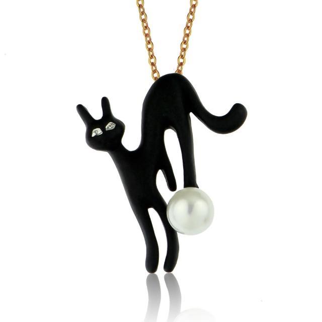 【大東山珠寶】手繪彩漆珍珠長版項鍊 貓咪飾品(俏皮魔女貓)
