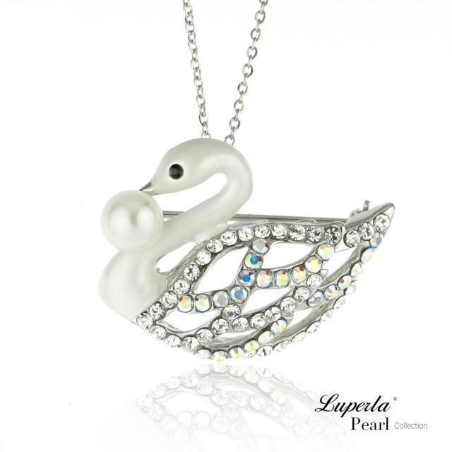 【大東山珠寶】天鵝圓舞曲珍珠項鍊胸針兩用款 別針 領釦 圍巾配飾