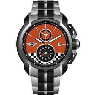【MINI Swiss Watches】賽車 旗幟計時腕錶(橘/45mm/MINI-36)