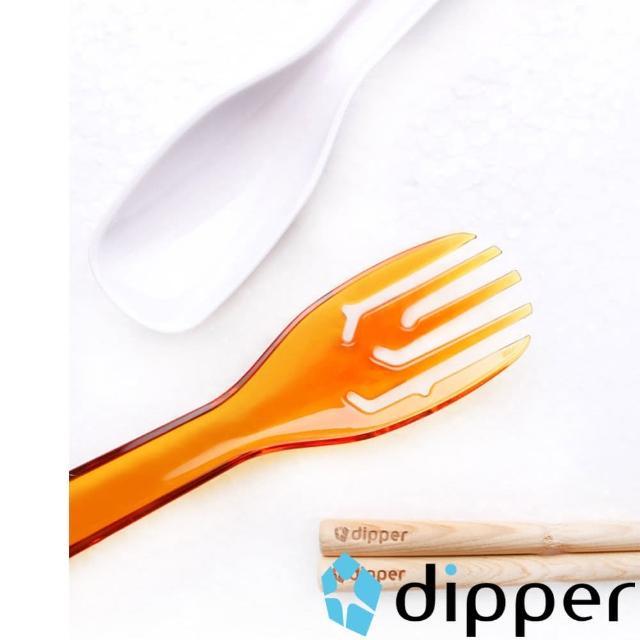 【dipper】3合1檜木環保餐具組(甜戀橘叉/陶瓷湯匙)