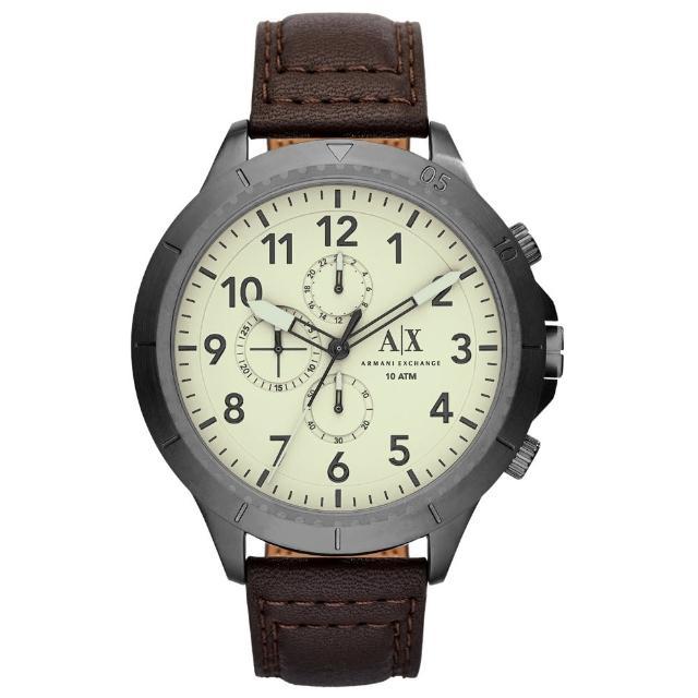 【A│X Armani Exchange】時刻終戰三眼計時腕錶-白X深咖啡皮帶(AX1757)