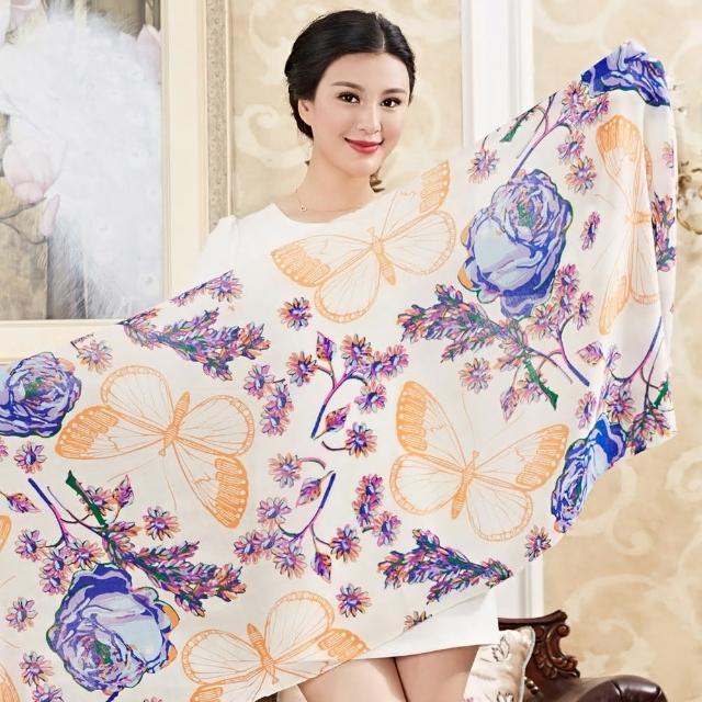 【Seoul Show】60支紗 夢幻花蝶 100%純羊毛印花圍巾保暖披肩