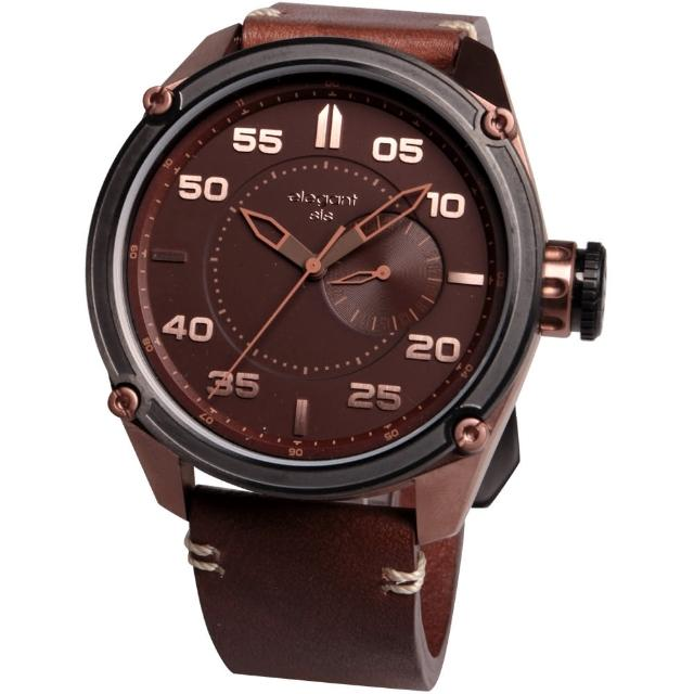 【elegantsis】Army 特務風雲日期時尚腕錶-古銅/46mm(ELJT47-PB09LC)