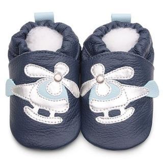 【英國 shooshoos】安全無毒真皮手工鞋/學步鞋/嬰兒鞋 海軍藍/銀白直升機(公司貨)