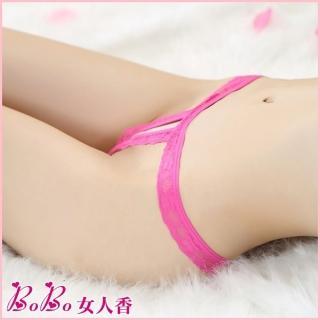 【BoBo女人香】a誘惑蕾絲開檔裸臀低腰丁字褲-性感情趣內褲G822-6(桃紅)