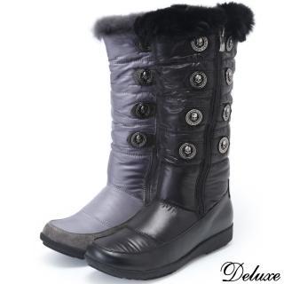 【Deluxe】真皮防水羽絨輕柔帥氣長筒靴(黑★灰)