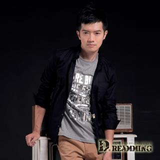 【Dreamming】韓系顯瘦挺版口袋長袖素面襯衫(黑色)