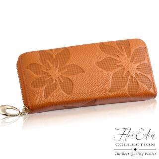 【DF Flor Eden皮夾】山茶花真皮壓紋款單拉鍊長夾(共6色)