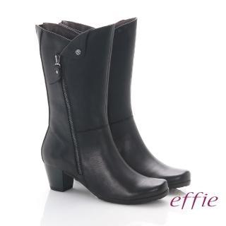 【effie】魅力時尚 全真皮帥氣經典騎士中筒靴(黑)