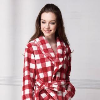【羅絲美睡衣】經典紅白格紋暖冬睡浴袍(紅白格紋)