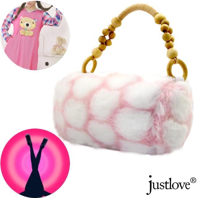 【justlove】仿兔毛絨毛女包女童包包休閒跑趴派對晚宴包手提包(粉 PG-0272)