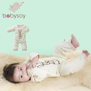 【美國 Babysoy】Janey Baby 有機棉長袖連身衣611(兔子)