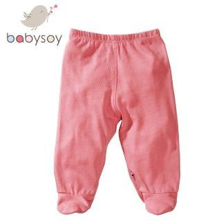 【美國 Babysoy】有機棉百搭彈性包腳長褲525(玫瑰粉)