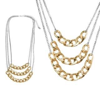【摩達客】時尚多層鏈條造型金銀色項鍊(現貨)