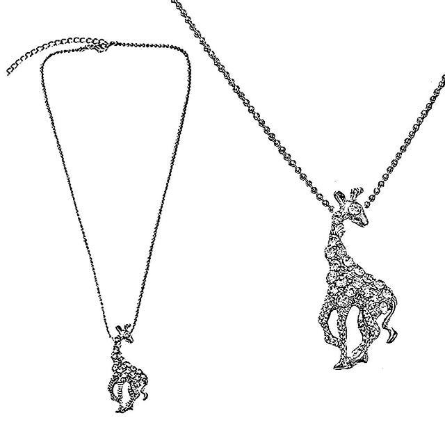 【摩達客】金屬長頸鹿造型銀色項鍊(現貨)