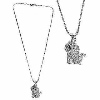 【摩達客】可愛狗狗造型銀色項鍊(現貨)