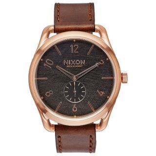 【NIXON】C45 LEATHER 跟隨自我潮流中性錶-玫瑰金框灰(A4651890)