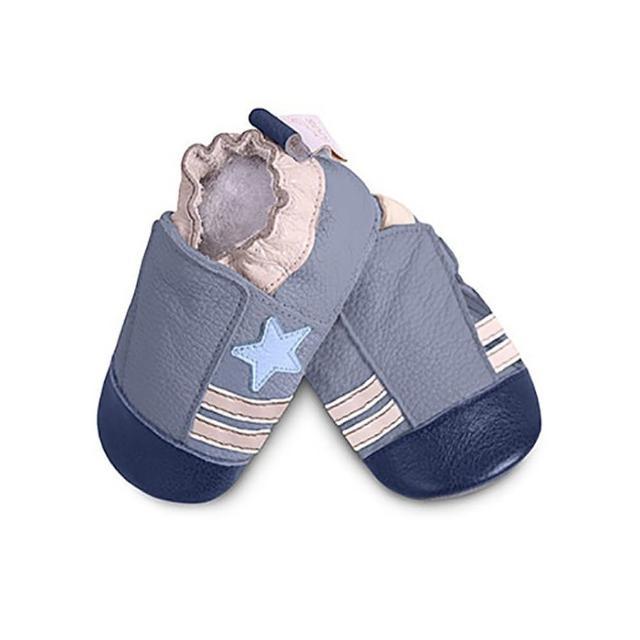 【英國 shooshoos】安全無毒真皮手工鞋/學步鞋/嬰兒鞋 藍色小星星(公司貨)