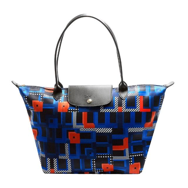 【LONGCHAMP】Artwalk普普風印花長把購物包(大-鈷藍色1899609-487)