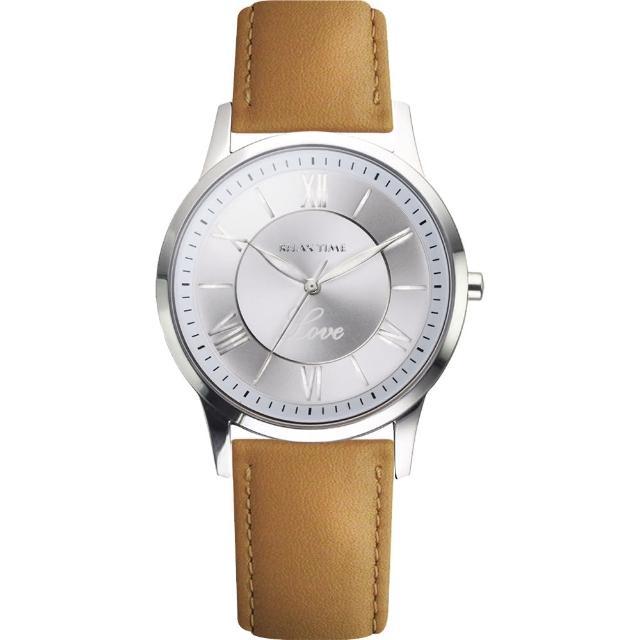 【RELAX TIME】RT58 經典學院風格腕錶-銀x駝色/42mm(RT-58-13M)