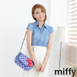 【Miffy米菲】滿版米菲系列(肩背包-寶石藍/俏麗粉)
