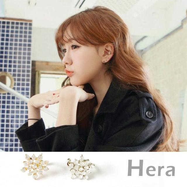 【Hera】韓版五角星形雪花滿水鑽耳環/耳骨夾共2色(二顆入)