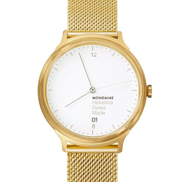 【MONDAINE瑞士國鐵】設計系列限量腕錶(金米蘭帶/38mm)