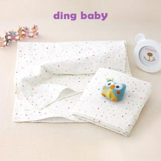 【ding baby】純棉紗布大浴巾-2入/台灣製嬰兒寶寶用品包巾薄被(粉點)