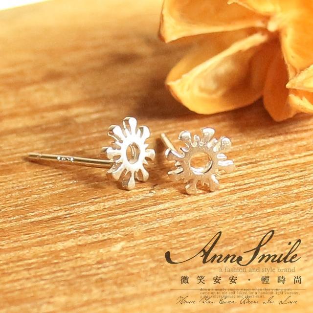 【微笑安安】幾何雪花感小墜925純銀耳環