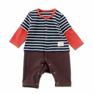 【日本 Nishiki】假兩件 長袖連身裝 - 深藍條紋紅袖(P2940-NV)