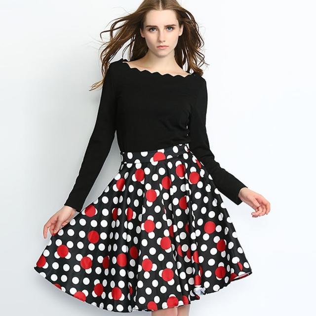 【a la mode 艾拉摩兒】黑色花邊長袖上衣圓點點大擺裙兩件式套裝(S-XL)