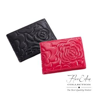 【DF Flor Eden皮夾】玫瑰情意立體壓紋真皮款短夾(共2色)
