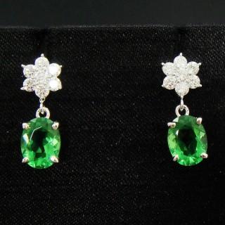 【蕾帝兒珠寶】花意綠曜耳環